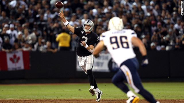 Carson Palmer of the Oakland Raiders throws the ball during the game against the San Diego Chargers during the season opener for both teams on Monday, September 10.