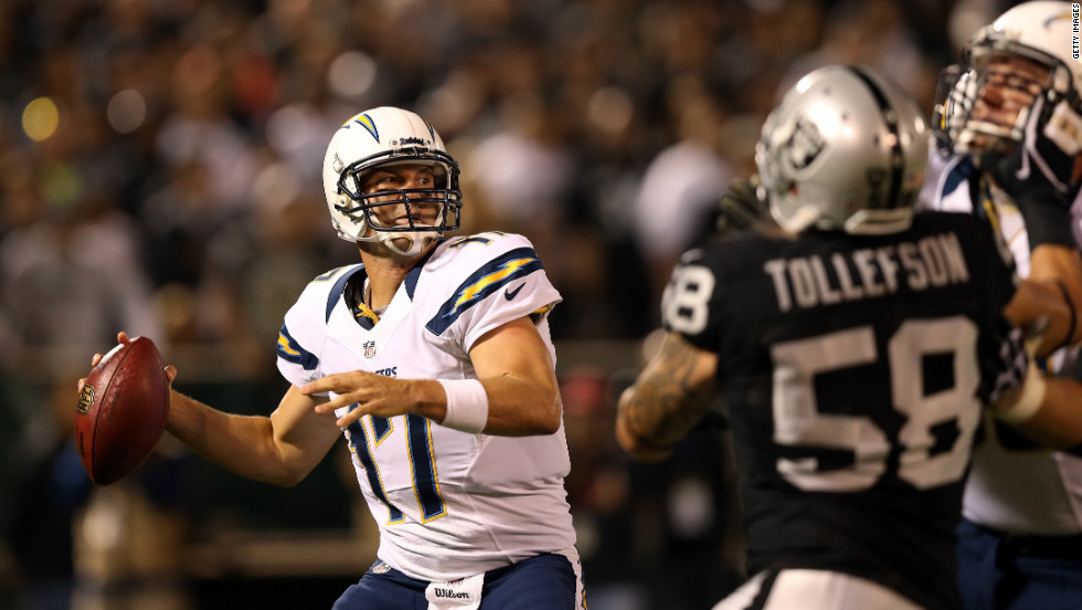 Quarterback Philip Rivers of the San Diego Chargers drops back to pass against the Oakland Raiders during both team's season opener on Monday, September 10 in Oakland, California. The Chargers defeated the Raiders 22-14. Enjoy the best action from Week One of the 2012 National Football League season.