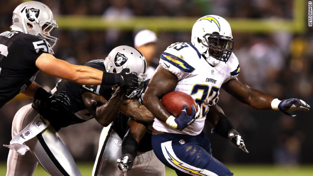 Le'Ron McClain of the San Diego Chargers runs with the ball on Monday.
