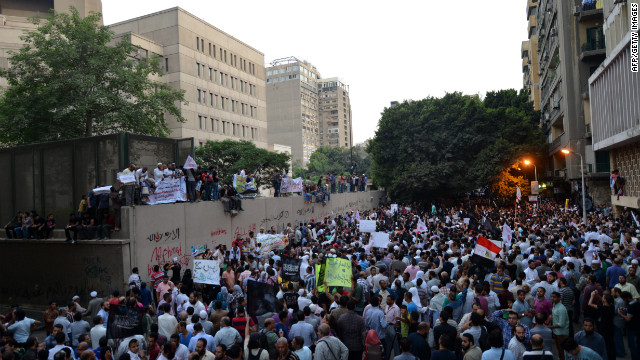 Thousands angered by the film produced by expatriate members of Egypt's Christian minority in the United States protest outside the U.S. Embassy.