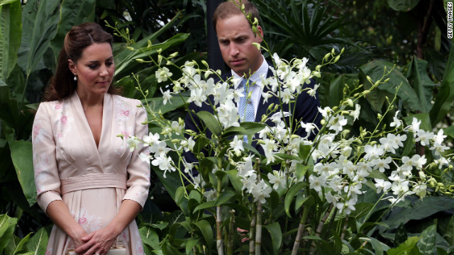 Britain's Prince William and Catherine viewed an orchid named for William's late mother in Singapore.