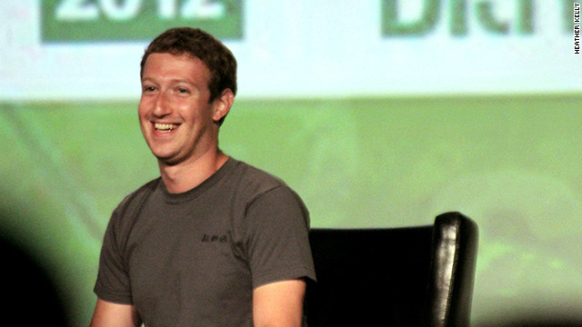 Facebook CEO Mark Zuckerberg at the 2012 TechCrunch Disrupt conference, wearing ... yes, a gray T-shirt.