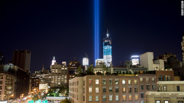 "New York City's ""Tribute In Light,"" a memorial to the victims of the 9/11 attacks, shines from One World Trade into the sky over Manhattan on Monday, September 10, as they are tested for ceremonies marking the 11th anniversary."