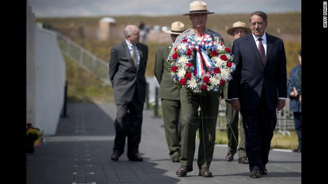 U.S. Secretary of Defense Leon Panetta, right, participates in a wreath-laying ceremony in Shanksville.