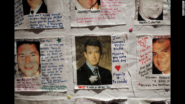 Family members left messages to loved ones killed in attacks.
