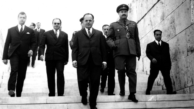 Kennedy was killed in 1968, a year into what Varoufakis calls the &quot;dark ages&quot; of the military dictatorship of Georgios Papadopoulos (C) that lasted from 1967 to 1973.
