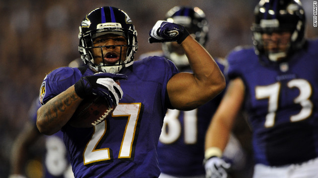 Running back Ray Rice of the Baltimore Ravens celebrates his seven-yard touchdown run against the Cincinnati Bengals on Monday.