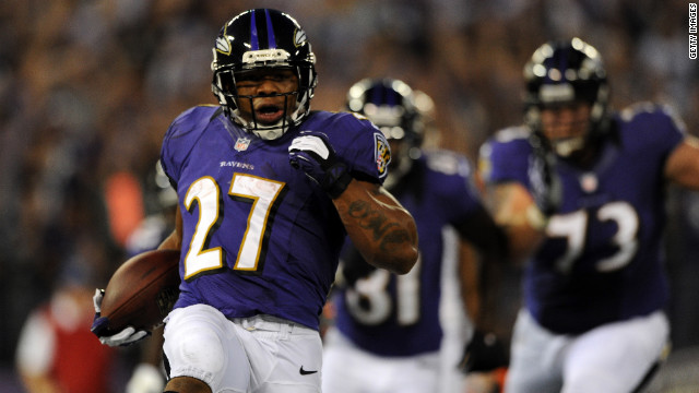Running back Ray Rice of the Baltimore Ravens scores on a seven-yard touchdown run against the Cincinnati Bengals on Monday.