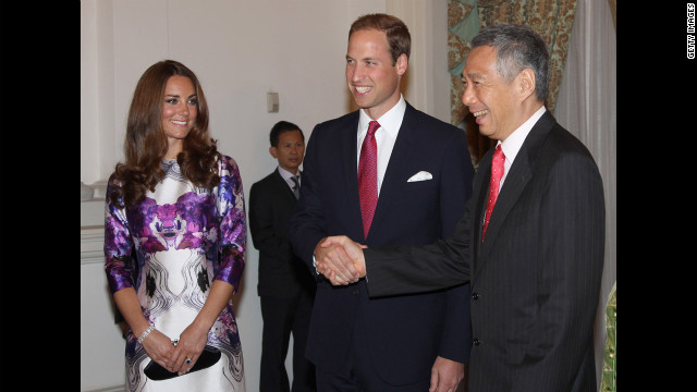 The Duke and Duchess of Cambridge meet Prime Minister Lee Hsien Loong at the Istana for a state dinner on the first day of their Diamond Jubilee tour in Singapore.