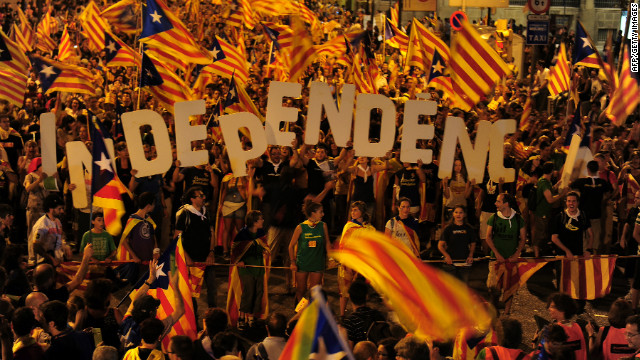 Catalonian independence supporters gather in Barcelona on Sept. 11 amid anger at Spain's financial crisis.