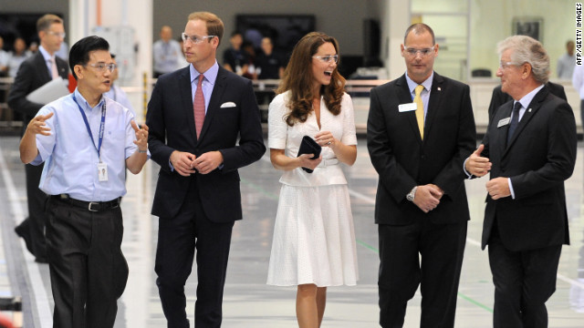 Prince William and Catherine tour the Rolls Royce plant on Wednesday.