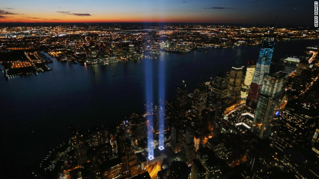 The &quot;Tribute in Light&quot; marks where the World Trade Center buildings stood to commemorate the 11th anniversary of the September 11 terrorist attacks on Tuesday, September 11. The 2001 attacks resulted in the deaths of nearly 3,000 people after hijacked planes crashed into the World Trade Center, the Pentagon in Arlington, Virginia, and a field in Shanksville, Pennsylvania.