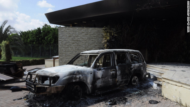 A burnt vehicle is seen at the U.S. Consulate in Benghazi, Libya, on Wednesday, September 12, one day after armed men stormed the compound and launched a rocket-propelled grenade. The resulting fire left U.S. Ambassador Christopher Stevens and and three other Americans dead. Stevens was trying to leave the consulate building for a safer location as part of an evacuation when gunmen launched an intense attack, apparently forcing security personnel to withdraw. &lt;a href='http://www.cnn.com/2012/09/11/middleeast/gallery/cairo-embassy/index.html'&gt;Photos: Protesters storm U.S. Embassy buildings&lt;/a&gt;