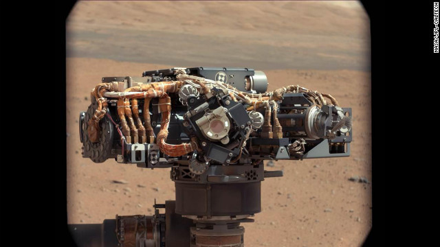 Researchers also used the mast camera to examine the Mars Hand Lens Imager (MAHLI) on the rover to inspect its dust cover and check that its LED lights were fucntional. In this image, taken on September 7, the MAHLI is in the center of the screen with its LED on. The main purpose of Curiosity's MAHLI camera is to acquire close-up, high-resolution views of rocks and soil from the Martian surface.