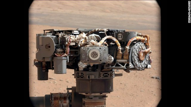 Researchers used the Curiosity rover's mast camera, on September 7, to take a photo of the Alpha Particle X-Ray Spectrometer. The image was used to see if it had been caked in dust during the landing. 