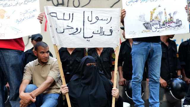 Egyptian demonstrators continue to stake out the U.S. Embassy in Cairo on Wednesday. 