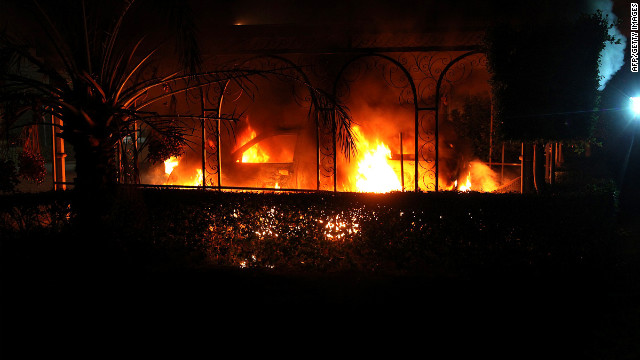 A vehicle burns during the attack Tuesday on the U.S. Consulate in Benghazi on September 11.