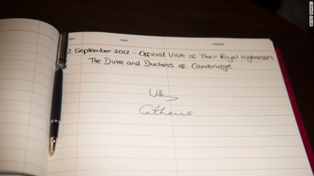 The signatures of Catherine, Duchess of Cambridge, and Prince William, Duke of Cambridge (not pictured) mark their visit on Wednesday.