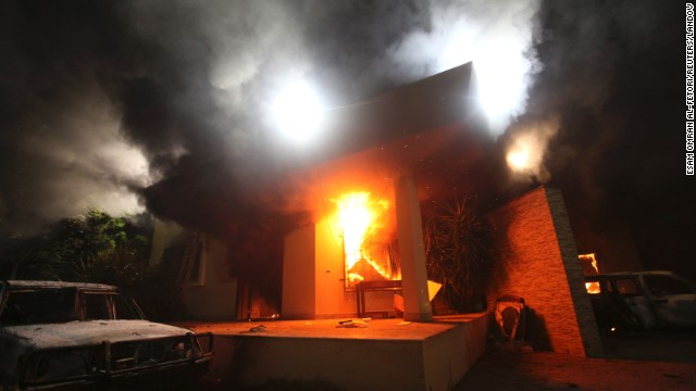 The U.S. Consulate in Benghazi is seen in flames Tuesday, September 11.