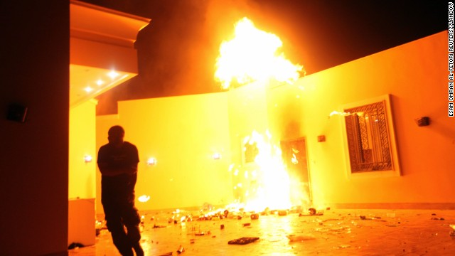 Flames erupt outside of a building in the U.S. consulate compound on September 11.