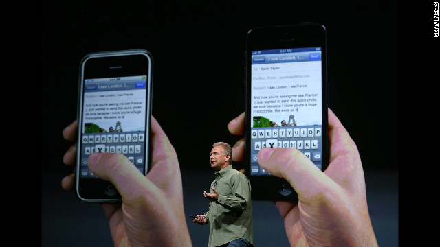 Phil Schiller, Apple senior vice president of worldwide product marketing, announces the iPhone 5.