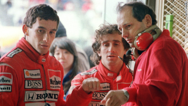 Ayrton Senna (left) and Alain Prost (centre) in happier times during the early stages of their tempestuous spell together at McLaren, which prompted the Frenchman to abandon the team midway through the Brazilian's second year.