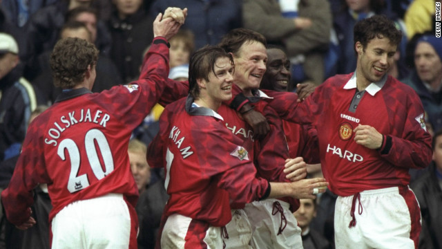 Strikers Teddy Sheringham (centre) and Andrew Cole (second from right) won a host of trophies at Manchester United together despite barely talking to one another on a social basis. 