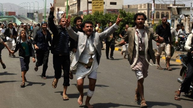 Yemeni protesters shout slogans during a protest against a film deemed anti-Islamic in Sanaa on September 13.