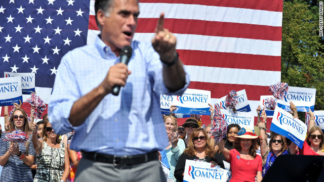 Supporters cheer as Romney speaks at a campaign rally in Fairfax, Virginia, on Thursday.