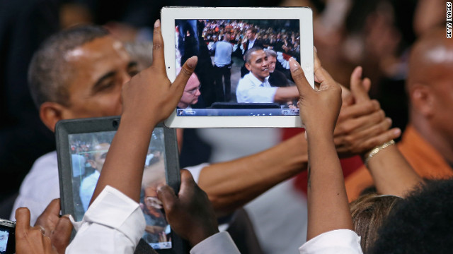 President Obama greets supporters during a campaign stop at the Palm Beach County Convention Center in West Palm Beach, Florida, on Sunday.