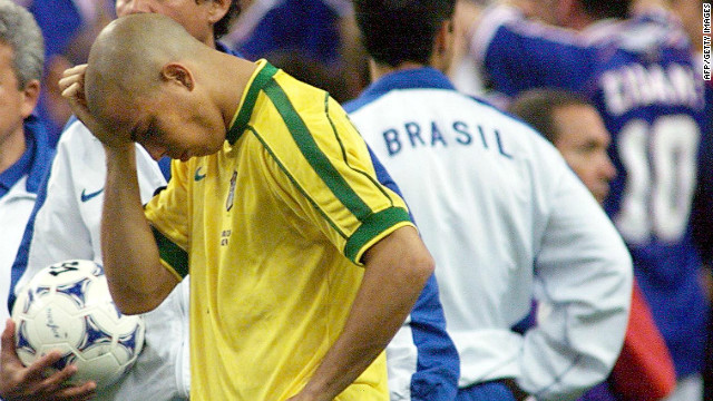 Ronaldo arrived at the 1998 World Cup in France as the most talked about footballer in the world. The 22-year-old scored four goals during the tournament, but confusion and controversy reigned before and after Brazil's 3-0 defeat to France in the final. Ronaldo was initially left out of the starting XI for the Paris match, before being reinstated at the last minute. He was largely anonymous during the match, with the exact details of what occured prior to kick-off still unknown. 