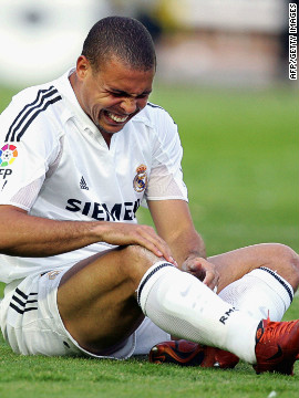 During his career Ronaldo was hampered by chronic knee injuries. After scoring a stunning hat-trick in a European Champions League game against Manchester United and with Real on track for a treble, Ronaldo again succumbed to injury. In 2007, Ronaldo was sold to AC Milan having scored 104 goals in 177 matches for Real.