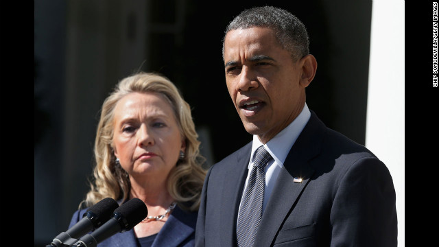 U.S. President Barack Obama makes a statement about the death of Ambassador Chris Stevens with Secretary of State Hillary Clinton in the Rose Garden at the White House on September 12 in Washington.