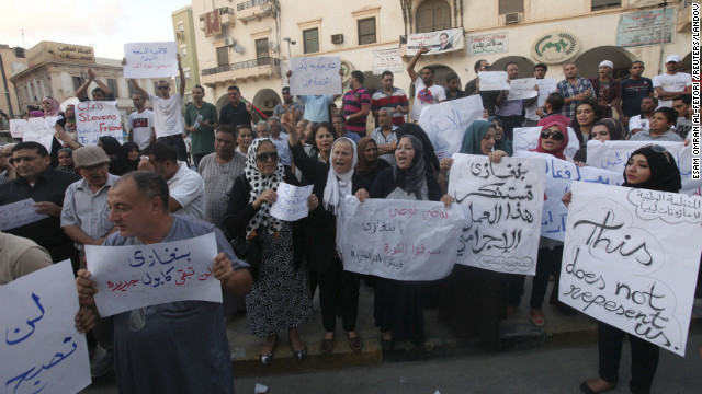 Demonstrators on Wednesday gathered in Libya to condemn the killers and voice support for the victims in the attack on the U.S. Consulate and a safe house that was stormed by Islamist gunmen blaming America for a film they said insulted the prophet Mohammed.
