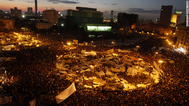 Demonstrators crowd Cairo's Tahrir Square on February 10, 2011 calling for the ouster of then president Hosni Mubarak.