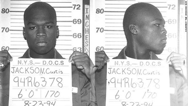 Curtis Jackson, aka 50 Cent, posed for this mug in 1994 when he was arrested at 19 for allegedly dealing heroin and crack cocaine. 