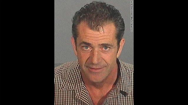 This mug was snapped after Mel Gibson, now notorious for getting himself into trouble, was arrested and charged with drunk driving in 2006.