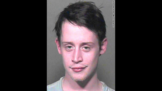 "The Oklahoma County, Oklahoma, Sheriff's office took this mug shot of the famous ""Home Alone"" star Macaulay Culkin after they found marijuana, Xanax and sleeping pills in his possession. He was briefly jailed before being released on bond."