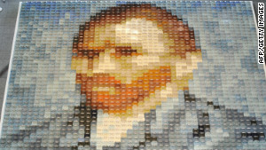 Van Gogh\'s self-portrait is remade with 2,070 polo shirts, created by Japan\'s apparel maker Onward Kashiyama Co. You can see both the portrait and the shirts.
