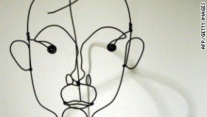 A sculpture of Catalan painter Joan Miro by Alexander Calder shows Miro\'s face only in outlines.