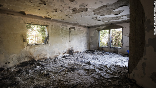 The damage inside the burnt U.S. Consulate in Benghazi on Thursday.
