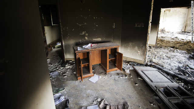 A desk inside the burnt U.S. Consulate building in Benghazi, Libya, on Thursday, September 13, two days after an attack on the building in which the U.S. ambassador and three other U.S. nationals were killed. The attack came as protesters outside the compound rallied against a movie that unflatteringly portrays Islam's Prophet Mohammed. Photos: Protesters storm U.S. Embassy buildings