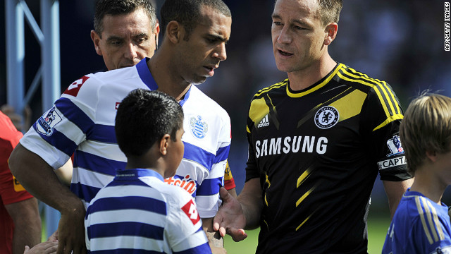 Anton Ferdinand declines John Terry's offer of a handshake before Saturday's Premier League match at Loftus Road