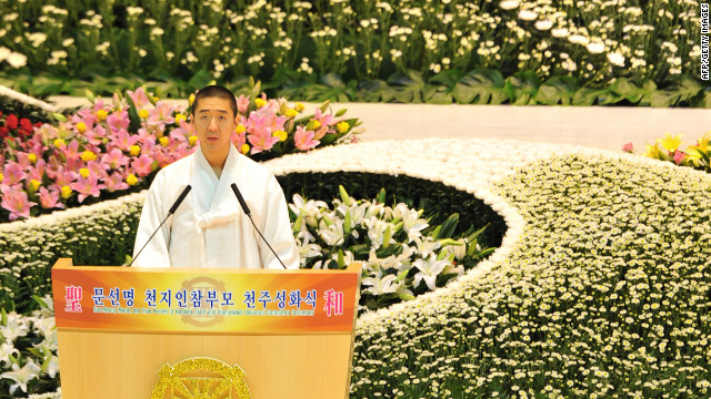  Hyung-Jin Moon, Sun Myung Moon's youngest son and successor, delivers a speech during the funeral.