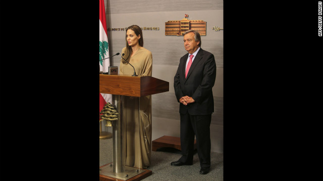 Jolie speaks during a news conference following a meeting with Guterres, right, and Lebanese Prime Minister Najib Mikati in Beirut on Wednesday.