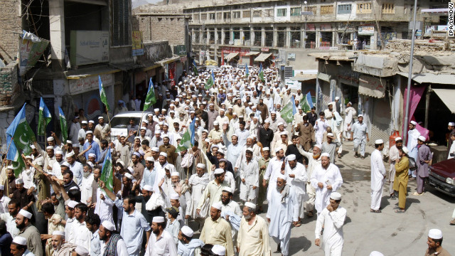 Supporters of Islamic political party Jamaat-e-Islami shout slogans during a protest in Khyber Agency on Saturday.