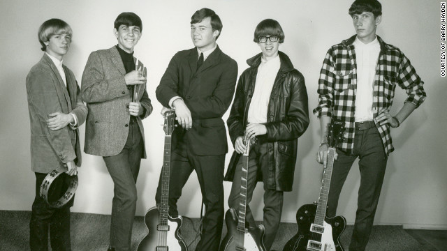 The Dantes, an Ohio band, in 1965, when they were aspiring to big things. Lead singer, Barry Hayden, is at left holding tambourine. 