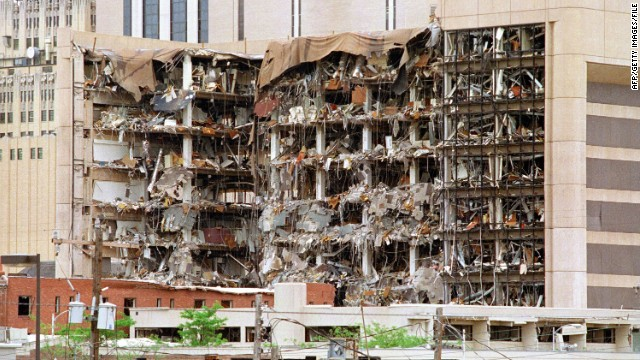 The north side of the Alfred P. Murrah Federal Building in Oklahoma City shows the devastation caused by a fuel-and fertilizer truck bomb detonated on April 19, 1995. At the time, it was the worst terror attack on U.S. soil, killing 168 people.