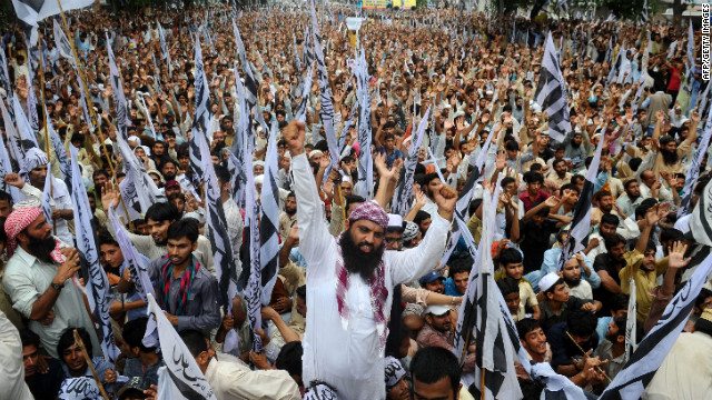 Supporters of Pakistan's outlawed Islamic hard-line group Jamaat ud Dawa shout anti-U.S. slogans during a rally against an anti-Islam movie in Lahore, Pakistan, on Sunday.
