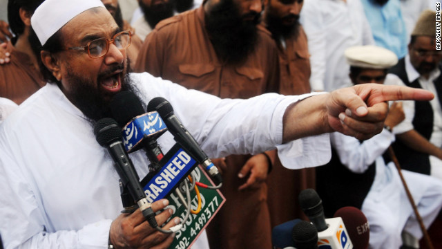 Hafiz Mohammad Saeed, head of Pakistan's outlawed Islamic hard-line group Jamaat ud Dawa, addresses supporters in Lahore on Sunday.